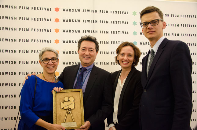 L to R: Helise Lieberman, Director, Taube Center for the Renewal of Jewish Life in Poland; Cellin Gluck, Director, Persona Non Grata; Magdalena Makarczuk, Co-Director, Warsaw Jewish Film Festival; Ignacy Straczek, Publicity Coordinator, POLIN Museum of the History of Polish Jews.